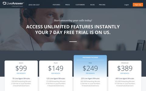 Screenshot of Pricing Page liveanswer.com - LiveAnswer - Pricing - captured Nov. 14, 2017