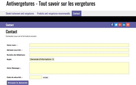 Screenshot of Contact Page antivergetures.com - Antivergetures - Tout savoir sur les vergetures  |  Contact - captured Feb. 12, 2018