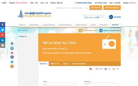 Screenshot of Contact Page sib.ae - Reach Us |                                      Sharjah Islamic Bank - captured Nov. 7, 2018