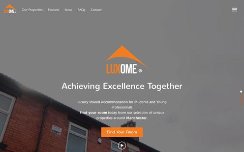 Screenshot of Home Page luxome.co.uk - Luxury Student and Young Professional Houses in Manchester - captured July 18, 2016