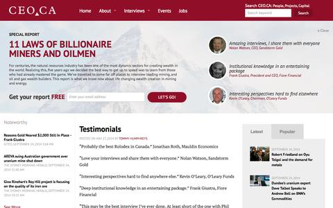 Screenshot of Testimonials Page ceo.ca - Testimonials for Tommy Humphreys, CEO.CA | CEO.CA - captured Sept. 25, 2014
