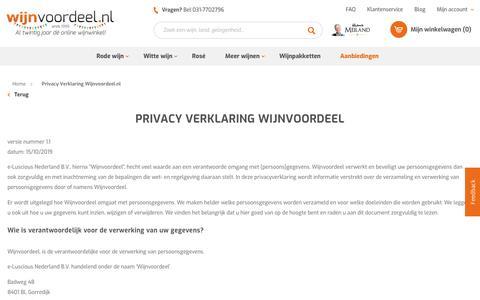 Screenshot of Privacy Page wijnvoordeel.nl - Privacy Verklaring Wijnvoordeel.nl - captured Nov. 26, 2019