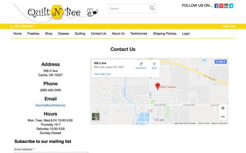 Screenshot of Contact Page quiltnbee.biz - Quilt N Bee Premier Oklahoma Quilt Shop - captured Dec. 8, 2018