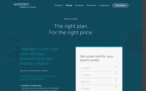 Screenshot of Pricing Page webdam.com - Get Pricing | Digital Asset Management | WebDAM - captured Jan. 10, 2017