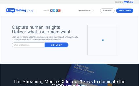Screenshot of Blog usertesting.com - UserTesting Blog: UX, CX, Design, and Marketing Resources - captured May 23, 2018