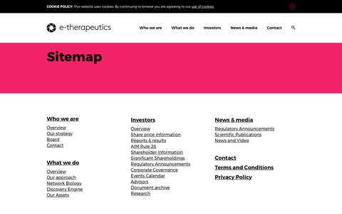 Screenshot of Site Map Page etherapeutics.co.uk - Sitemap - captured Sept. 19, 2017