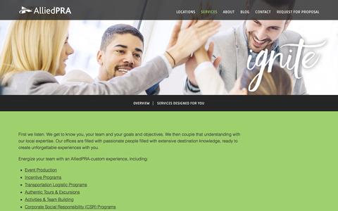 Screenshot of Services Page alliedpra.com - Custom-Tailored Experiences | AlliedPRA - captured Jan. 29, 2017
