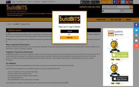 Screenshot of Privacy Page buildbits.com.au - buildBITS - Privacy Policy - captured Sept. 24, 2018