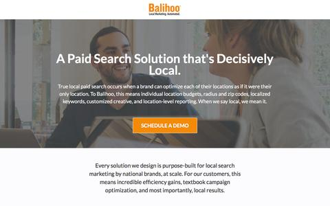 Screenshot of Landing Page balihoo.com captured Dec. 9, 2015