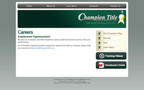 Screenshot of Jobs Page championtitle.com - Champion Title & Settlements, Inc. | Title Company | Virginia | Maryland | D.C. - captured Oct. 2, 2014