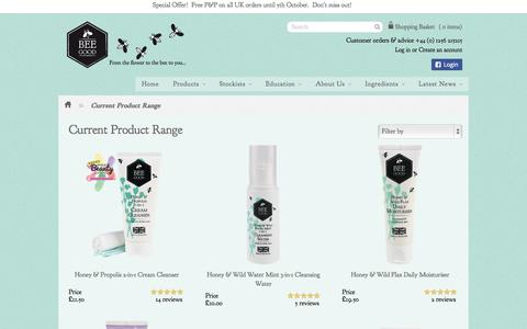 Screenshot of Products Page beegood.co.uk - Current Product Range – Bee Good - captured Oct. 5, 2014