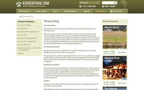 Screenshot of Privacy Page krugerpark.com - Privacy Policy| krugerpark.com - captured Sept. 18, 2014
