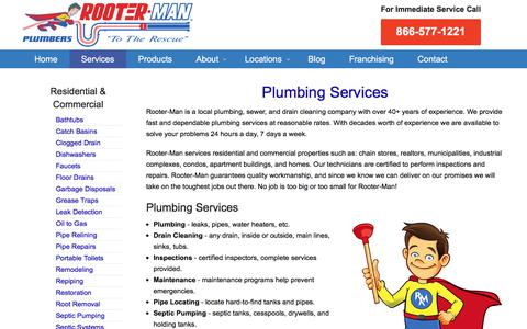 Screenshot of Services Page rooterman.com - Plumbing Services | Rooter-Man - captured Oct. 31, 2017