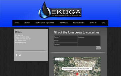 Screenshot of Contact Page ekoga.org - EKOGA - Eastern Kansas Oil and Gas Association | Contact Us - captured Nov. 9, 2018
