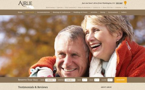 Screenshot of Testimonials Page airlie.com - Reviews & Testimonials | Airlie - captured Nov. 2, 2014