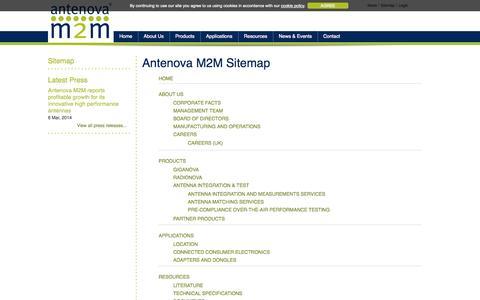 Screenshot of Site Map Page antenova-m2m.com - Sitemap - captured Sept. 13, 2014