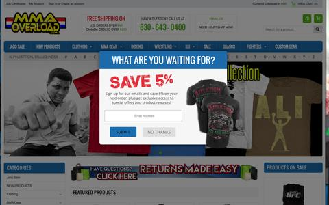 Screenshot of Home Page mmaoverload.com - MMA Overload - MMA Clothing, Shirts, Gear, Shorts and more! - captured Oct. 5, 2015