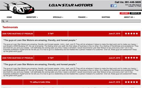 Screenshot of Testimonials Page loanstarmotors.com - Customer Reviews, Testimonials - Loan Star Motors - captured July 20, 2018