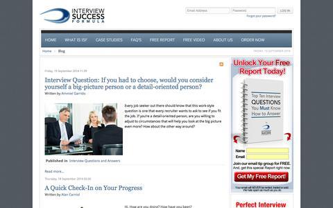 Screenshot of Blog interviewsuccessformula.com - Blog - Interview Success Formula - captured Sept. 22, 2014