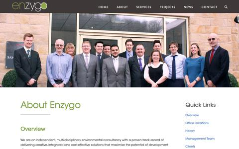 Screenshot of About Page enzygo.com - About - Enzygo : Enzygo - captured Sept. 28, 2018