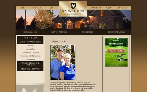 Screenshot of Testimonials Page foxlandharbor.com - Testimonials - Foxland Harbor | Middle Tennessee Homes & Gallatin Communities - Foxland Harbor | Middle Tennessee Homes & Gallatin Communities - captured Oct. 2, 2014