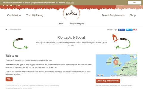 Screenshot of Contact Page pukkaherbs.com - Contacts & Social | Pukka Herbs - captured July 24, 2018