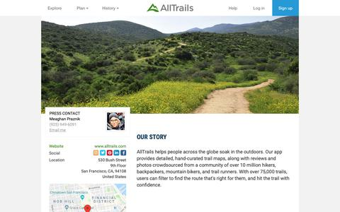 Screenshot of Press Page alltrails.com - Press | AllTrails - captured June 8, 2019