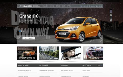 Screenshot of Home Page hyundai.co.za - Hyundai | New Thinking, New Possibilities. - captured Sept. 19, 2014