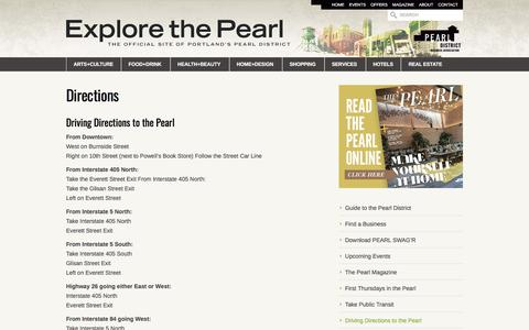 Screenshot of Maps & Directions Page explorethepearl.com - Directions | Explore The Pearl - captured Sept. 23, 2018