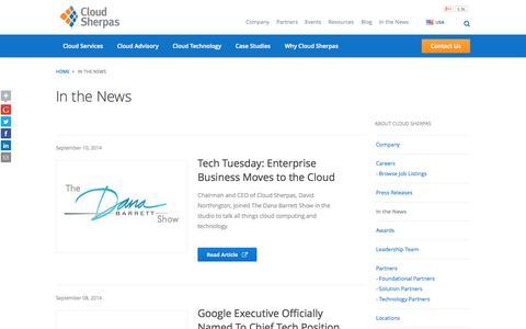 Screenshot of Press Page cloudsherpas.com - In the News - Cloud Sherpas - captured Sept. 13, 2014