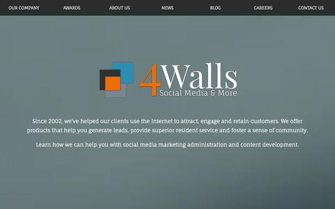 Screenshot of Home Page 4walls.net - 4 Walls | Social Media & More | Multifamily Marketing - captured Dec. 24, 2015