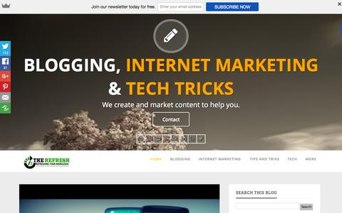 Screenshot of Home Page f5therefresh.com - F5 The Refresh | Blogging and Internet Marketing Tips and Tricks - captured Oct. 12, 2015
