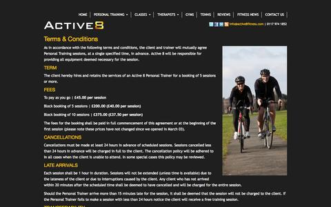 Screenshot of Terms Page active8fitness.com - Terms & Conditions | Active8 - captured Oct. 4, 2014