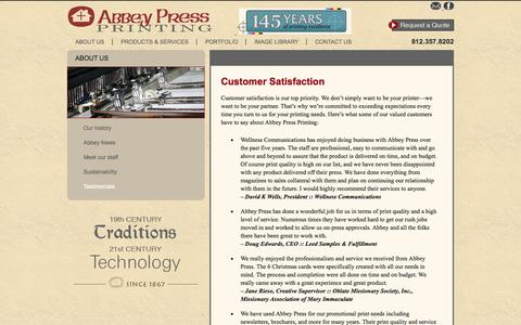 Screenshot of Testimonials Page abbeypressprinting.com - Abbey Press Printing | Customer Satisfaction - captured Oct. 4, 2014