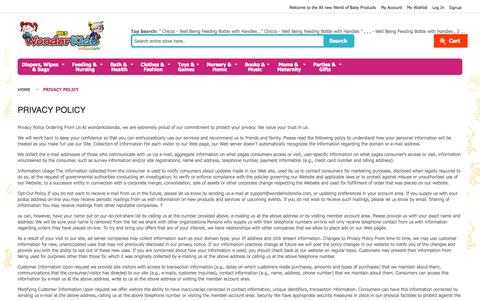 Screenshot of Privacy Page wonderkidsindia.com - Privacy Policy - captured Oct. 3, 2014