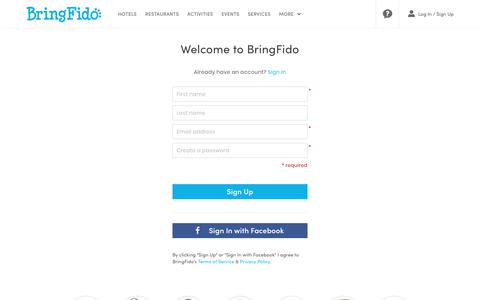 Screenshot of Signup Page bringfido.com - Welcome to BringFido.com - captured Sept. 22, 2018