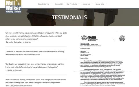 Screenshot of Testimonials Page wallwalker.com - Testimonials – Wall Walker - captured Nov. 18, 2016