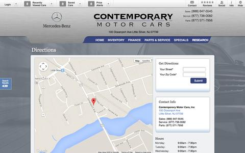 Screenshot of Maps & Directions Page cmcbenz.com - Contemporary Motor Cars, Inc | New Mercedes-Benz dealership in Little Silver, NJ 07739 - captured Nov. 2, 2014