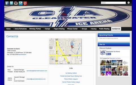 Screenshot of Contact Page clearwatericearena.com - Contact Us » Clearwater Ice Arena - captured Sept. 29, 2014