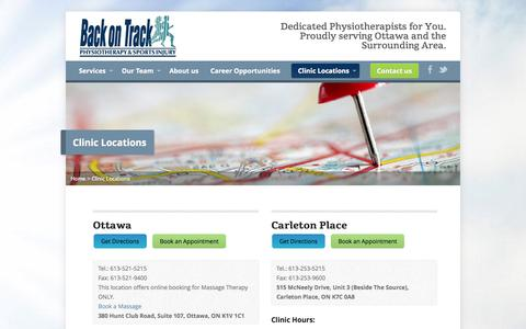 Screenshot of Contact Page Locations Page backontrackphysio.com - Clinic Locations - Back on Track Physiotherapy - captured Oct. 23, 2014