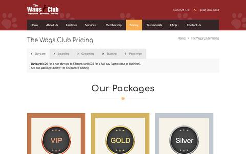 Screenshot of Pricing Page thewagsclub.com - The Wags Club Pricing | Dog Daycare in Los Angeles - captured Oct. 20, 2018