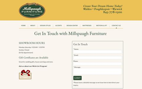Screenshot of Contact Page millspaugh.com - Contact Information, Hudson Valley, NY | Millspaugh Furniture - captured Nov. 3, 2017