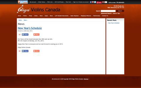 Screenshot of Press Page violinslover.ca - News - captured Oct. 27, 2018