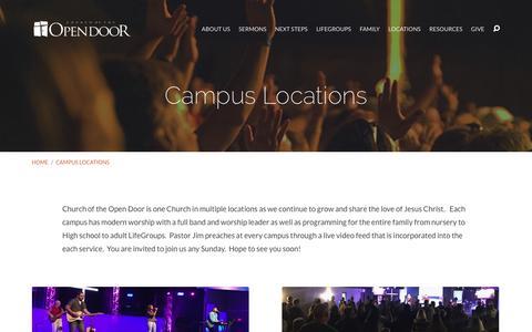 Screenshot of Locations Page opendoor.tv - Campus Locations - Church of the Open Door - captured Nov. 5, 2016