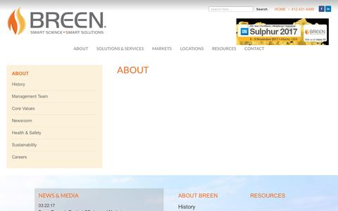 Screenshot of About Page breenes.com - About – Breen Energy Solutions - captured Oct. 11, 2017