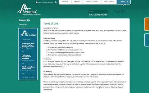Screenshot of Terms Page advantax.com - Property Tax Consultants, Property Tax Compliance | Terms of Use - captured Oct. 4, 2014