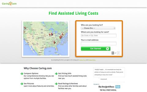 Screenshot of Landing Page caring.com - Find Top Assisted Living Facilities in Your Area | Caring.com - captured Oct. 27, 2014