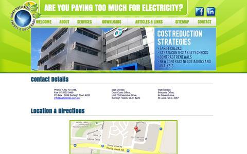 Screenshot of Contact Page wattutilities.com.au - Watt Utilities - Contact Details - captured Oct. 1, 2014