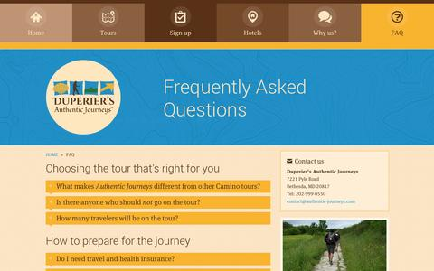 Screenshot of FAQ Page authentic-journeys.com - Frequently Asked Questions   Duperier's Authentic Journeys - Camino of Santiago Walking Tours - captured Oct. 27, 2014