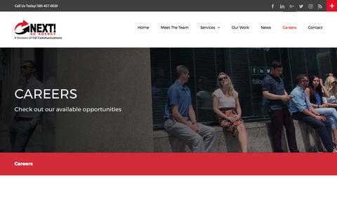 Screenshot of Jobs Page nextadagency.com - Digital Media, SEO & Website Design Jobs in Rochester NY | Next! Ad Agency - captured April 1, 2017